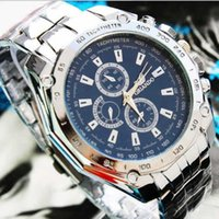 Wholesale Mens Stainless Steel Brand Watches Water Resistance Full Calendar Round Case Date Day Display Quartz Watch