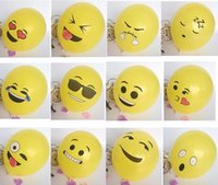 Wholesale 100Pcs quot Emoji Balloons Smiley Face Expression Yellow Latex Balloons Party Wedding Ballon Cartoon Inflatable Balls
