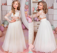Wholesale 2016 Lovely Kids Pageant Dresses Sexy Sheer Lace Applique Jewel Neck Illusion Long Sleeve Two Pieces A Line Tulle Little Girl Prom Dress