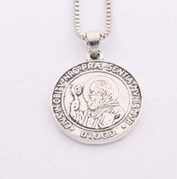 Wholesale 28x24 mm Saint St Benedict Nursia Patron Medal Cross N1657 inches Chains Pendant Necklaces Jewelry