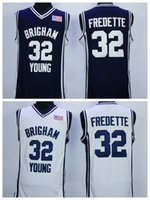 Wholesale Cheap Sale Jimmer Fredette College Jerseys Brigham Young Cougars Shirt Uniforms Team Color Navy Blue White Breathable