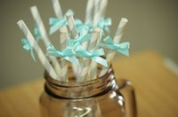 aqua paper straws - cheap Silver Straws with Aqua Bows Chevron Paper Straws party decorations wedding birthday bridal baby shower favors