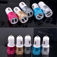 Wholesale Metal Dual USB Port Car Charger Universal Volt Amp for Apple iPhone iPad iPod Samsung Galaxy Motorola Droid Nokia Htc DHL