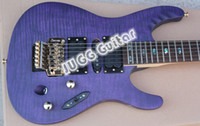 Wholesale MONSTER AXE Super Thin Herman Li EGEN18 Signature Electric Guitar Transparent Violet Flat ultra fast Neck Abalone Round Fingerboard Inlay