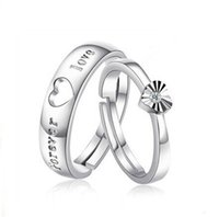 apartment mix - Silver Lovers ring opening creative love apartment live diamond jewelry Korean character