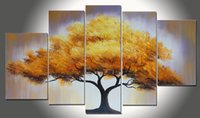 Wholesale Handmade Golden Tree Oil Painting Ready to Hang Panel Canvas Wall Art Money Tree Oil Paint
