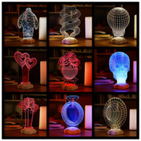 Wholesale 3D Visual Bulb Sculpture Optical Illusion Usb LED Table Lamp Touch Romantic Holiday Night Light Baymax Rose Heart F464
