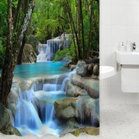 Wholesale 3D Shower Curtains Waterfall Nature Scenery Bath Curtain Water Resistant Shielding Cloth for Bathroom Y