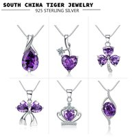 Wholesale 925 Sterling Silver Crown Silver Choker Necklace For Women Weddings Silver Jewelry Fashion Amethyst Crystal Pendants S925 Silver Chain