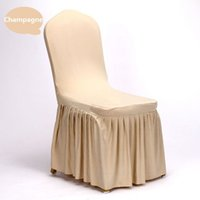 Wholesale Wedding Chair Cover Solid Colors Polyester Spandex Chair Covers For Wedding Party Banquet Skirt Hem Chair Cover Hotel Decoration