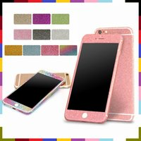 Wholesale Full Body Shiny Glitter Bling Diamond Film Matte Skin Sticker Protector For iphone7 plus S S i6 plus S6 Samsung S7 EDGE S6