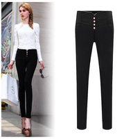 basic pants - 2016 autumn and winter fashion high waist casual plus size plus size mm basic long trousers female elastic skinny pants