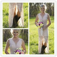 Wholesale High Low Lace Bridesmaid Dresses Slit Sexy V Neck Long Country Western Wedding Party Gowns Maid of Honor Boho Prom Formal