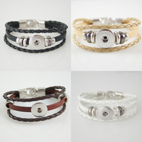 Wholesale Best Sellers High Quality Newest type Real Leather Snaps Bracelets Most Popular Fit mm snap button From Partnerbeads KB0829