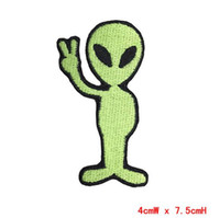 alien sign - Set Victory sign Alien Iron on Patches For Clothes Embroidered Patch Custom DIY Accessory Badge