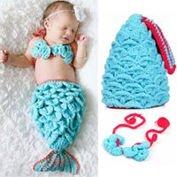 Wholesale Baby Kids Cosplay Costumes Cute Small Mermaid Newborn Photography Props Knitting Baby Hat Warm Baby Costume Photography Baby Crochet Clothes