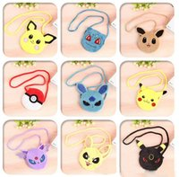 Wholesale Poke purse ball Pocket Monsters Poke Ball Pikachu plush Mes enger bag Wallets toys best gifts kids gift Key holders