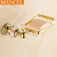 Wholesale MANCEL Decorative Soap Dishes Soap Holder Copper Soap Basket Box Bathroom Accessories Round Base Golden Crystal Series