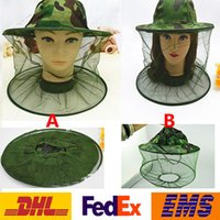 Unisex Printed Summer DHL Mosquito Resistance Bug Net Cap Mesh Head Face Protector Cap Sun Anti-bee Outdoor Camouflage Wide Brim Hats With Lace Tulle WX-H34