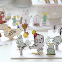 Wholesale Creative Forest Animals Cartoon D Greeting Card Postcard Birthday Gift Card Set Message Card Letter Envelope Gift Card