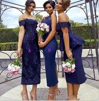 b skirt - Royal Blue Bridesmaid Dress Short Three Kinds A Off Shoulder Appliques Sheath B Jewel Neck Split Back C Tiered Skirt
