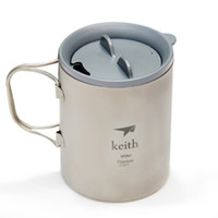 Wholesale Keith Titanium Cup Lightweight Double Wall Water Cup Home Office Coffee Mug Outdoor Camping Hiking Cup Lockable Grip Lid ml
