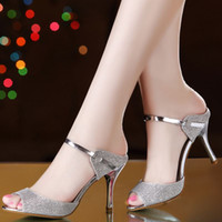 Wholesale hot sell women Sandals sweet fish mouth high heeled silver female sandals in the summer of the new heel
