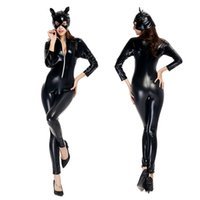 batman catwoman costumes - NEW Arrival Sexy women patent leather Superhero batman Catwoman costume clothing halloween coat jumpsuits jacket set uniform