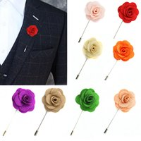 Wholesale Lapel Flower camellia Handmade Boutonniere Brooch Pin Men s Accessories