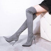 Cheap Winter women Over The knee high boots Long boots thigh high woman high quality leather pointed toe shoes