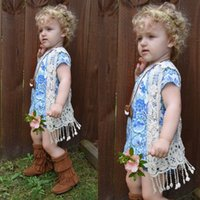 Wholesale 2016 INS HOT Sell baby girl kids floral crochet vest crocheted hollow lace knitted shawl robe coat cardigan Poncho tops Cute tassels fringed