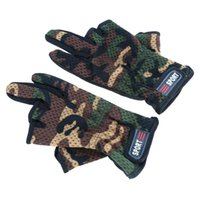 Wholesale Fishing Accessory Polyester Cotton Camouflage Non slip Breathable Durable Low Cut Fingers Fishing Gloves Size Adjustable