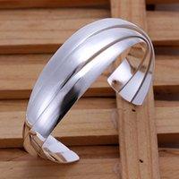 american beauty music - Promotion Sterling Silver Beauty circle Cuff Bracelet Bangle women brand designer Freeshipping