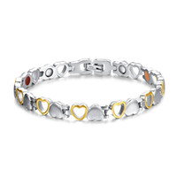 Wholesale Orsa Jewelry Girl Magnetic Bracelets Stainless Steel Health Care Silver Yellow Heart Cut Hand Chain OTB109