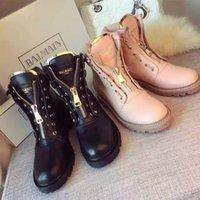 Wholesale 2016 Men Brand BALMAIN SHOSE Women Genuine Leather Ankle Balmain Boots Cheap Original Quality Black Pink Motorcycle Martin Snow Boots