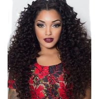 afro beauty wigs - Long Beauty Natural Color Curly Wigs Brazilian Unprocessed Human Hair Kinky Curly Wig With Middle Part