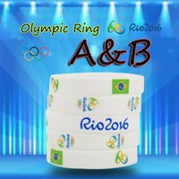 Wholesale 2016 New Arrival Brazil Rio Olympic Bracelet White Yellow Silicone Wristband Decoration Links Fashion Xmas Gifts Charms Women Men Jewelry