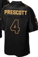 Wholesale 4 Dak Prescott Pro Line Black Gold Collection dallars blue white Elite Jersey size small s xl all sewn