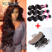 Wholesale cheap fashion x4 Peruvian Body Wave Lace Frontal Closure With Bundles A Peruvian Virgin Hair With Frontal Closure Rosa Hair Products