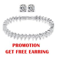Wholesale Shinning Austria Crystal Tennis Bracelet SWA Elements Sterling Silver Jewelry Platinum Plated HK POST OB16