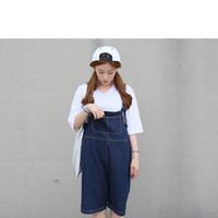 Wholesale Women new wave of cute denim overalls piece pants female loose short paragraph pants in five pants