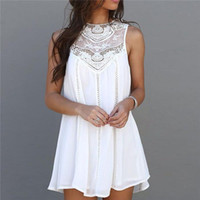 Wholesale Fashion Womens Casual A Line Dress Vintage Short Skirt Tops Chiffon Lace Crochet Sleeveless Dresses For Girls Asia Size