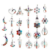 american gemstones - Hot Newest Natural Crystal Gemstone Pendant For Necklace Inlaid Stones Seven Chakra Religious Alloy Personality Natural Jewelry