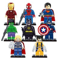 Wholesale 8pcs Marvel Avengers Super Hero Minifigures Building Blocks Sets Kids figures toy Bricks Superman Iron Man Hulk Batman spiderman