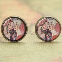 artist earrings - 10pairs Klimt earring two beautiful women Artist earring Print Photo Symbolism Art earring