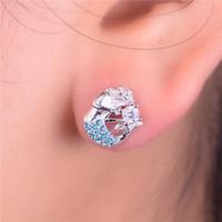 australian studs - 925 Sterling silver Mermaid Stud Earring Pave Blue Australian Crystal Brand Fine Jewelry For Women Wedding Party ER1038
