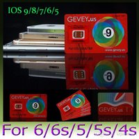 Wholesale New Gevey unlock Sim Card E paper Sim unlocking iOS ios9 Gevey US unlocking for iPhone s s plus S G G WCDMA CDMA GSM