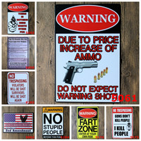 Wholesale Warning No gun shot here retro Coffee Shop Bar Restaurant Wall Art decoration Bar Metal Paintings x30cm tin sign