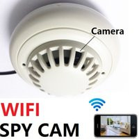 Wholesale HD Security IP Camera WIFI Wireless Smoke Detector Remote Anti Theft Spy Hidden Cam