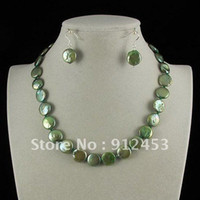 aa coins - Charming AA MM Green Color Genuine Freshwater Coin Shaper Pearl Necklace S925 Earring Magnet Clasp New